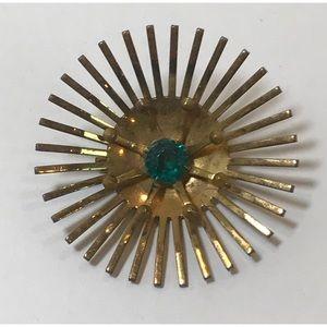 VTG Art Deco Sunburst Crystal Statement Brooch